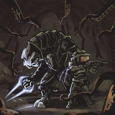 Halo 3 and Darkest Dungeon mashup Odst Halo, Halo 2, Star Wars Poster, Star Wars Art, Star Trek, Skyrim Cosplay, Anime Cosplay, Halo Tattoo, Halo Flood