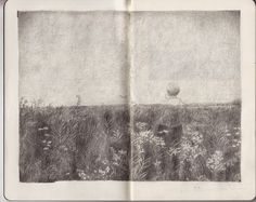 paysage _ beautifully imaginative and sensitive pencil work.