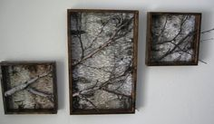 A beautiful natural rustic piece of true shabby chic art! Perfect for that large living room wall. A three frame white birch triptych made of white birch branches and dark walnut stained pine lumber with carefully mitered corners. We offer the 52 x 27.5 piece {two 14 square frames with a center frame 27.5 x 17.5 } or three 15.5 x 32.5 frames in rustic gray/brown stained pine lumber {total dimensions of art work is 53X32.5}. Frames come with saw tooth hangers. Custom orders are welcome but…