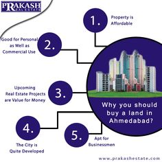 Nowadays, Ahmedabad is the fastest growing city to invest in the Real Estate. To get the best Property in Ahmedabad, consult with Prakash Estate who provide the best property in prime location in Ahmedabad. http://www.prakashestate.com #PrakashEstate #PropertyConsultant #RealEstateConsultant #Ahmedabad