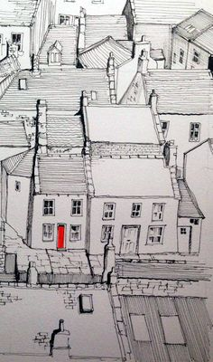 A line sketch of Staithes with one red door