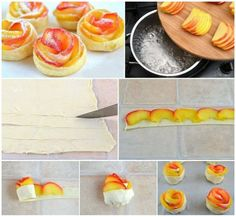 Pastry and peaches cups