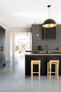 A-cute house / Red Architecture // #kitchen #black #plywood #tiles #lighting #architecture #design