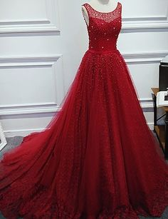 Luxurious A-Line Round Neck Red Long Prom Dress with Pearl,142