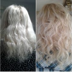 First photo is November 14th and 2nd is today Nov 25th. She used revive shampoo and conditioner. Hair is much more manageable just used a curling iron. #blonde #curlyhair #monat #damagedhair #hairrepair #antiaginghaircare
