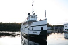 The Sequin enters the locks at Port Carling from the Lake Muskoka side of the Indian River on a beautiful late summer evening.