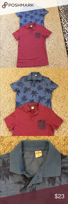HOLLISTER MENS POLO SHIRT 2 PACK SIZE MEDIUM HOLLISTER MENS 2 PACK POLO SHIRTS. 1 BLUE TROPICAL PALM TREES AND MAROON WITH CONTRAST PRINT COLLAR SIZE MED. GREAT CONDITION. ONE SHIP CHARGE. Hollister Shirts Polos