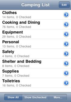 Camping List App. Camping List is used to keep track of the things you need to take on your next camping, hiking, fishing, or backpacking trip.