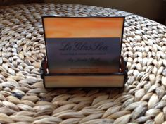 Stained Glass Orange Wispy Business Card Holder Card by LaGlasSea