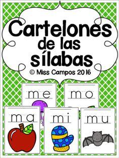 Silabas Posters - Cartelones de las Silabas - conciencia fonologica, preescolar, kindergarten, primer grado