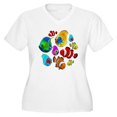SOLD! #Tropical #Fishes #Pattern Plus Size #TShirts - #Design #BluedarkArt_Copyright . #Cafepress