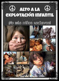 Cartel de concienciación sobre la esclavitud infantil en paises del tercer mundo