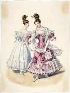 Evening dress, 1832 France, Journal des Dames et des Modes