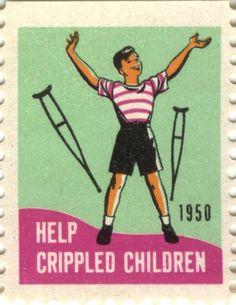 1950 Easter Seals Stamp, Help Crippled Children #EasterSealsFL