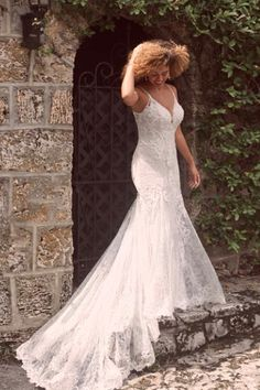"A resounding ""Yes!"" to shimmery texture, a sweetheart neckline, and an ultra-flattering silhouette in this sexy low-back mermaid wedding dress. Maggie Sottero Wedding Dresses, Wedding Gowns, Bridal Dresses, Bridal Gown, Lace Wedding, Bridal Boutique, A Boutique, Bridal Looks, Bridal Style"