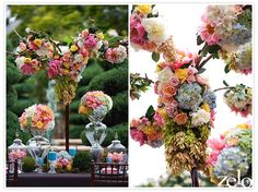 flowers in apothecary jars | Wow....love the use of apothecary jars
