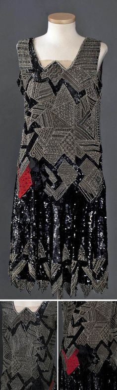 Evening dress, Ohio, ca. 1927. Silk, beads, & sequins. There is no front or back; both pieces are identical. The chiffon is encrusted with a patchwork design of geometrical patterns with flashes of black sequins and highlights of bright red.  Smith College Historic Clothing