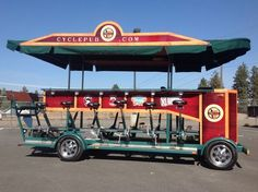 """Cycle Pub bike sales and tours in Bend, Oregon. Experience the best of Bend pubs, bars, and restaurants. Riders pedal this multi-passenger """"bike"""". Container Coffee Shop, Beer Bike, Lightweight Travel Trailers, Trike Motorcycle, Bikes For Sale, Pedal Cars, Root Beer, Brewery, Mobile Bar"""