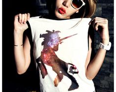 Unicorn Galaxy Women Shirt Tank Top Girl Sexy Summer Sideboob Size S, M, L
