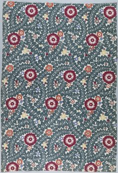 Textile, 1910-1912   Designed by Wilhelm Martens for Wiener Werkstätte   Length of printed linen with a highly stylized design of curving vines of blue-green leaves, dotted with dark red and white blossoms and scattered with other dots and flowers   The Werkstätte-Produktiv-Genossenschaft von Kunsthandwerkern in Wien (Art-Craft Workshop Cooperative in Vienna), more popularly known as the Wiener Werkstätte, was founded in 1903 by Secession members Josef Hoffmann and Koloman Moser