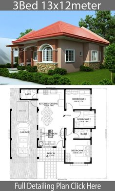 Home design plan with 3 Bedrooms - Home Design with Plansearch Home design plan with 3 Bedrooms.House description:One Car Parking and gardenGround Level: Living room, 3 Bedrooms, Dining room, Kitchen My House Plans, House Layout Plans, Family House Plans, Modern House Plans, House Layouts, Bungalow Haus Design, Modern Bungalow House, Simple House Design, House Front Design
