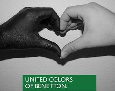 "One of the best ad ever made, Benetton campaign, photographed by Olivero Toscani. you, me and him are ""different"" but, hey Benetton is fo. Clever Advertising, Advertising Campaign, Poesia Visual, Dear White, Unity In Diversity, Colors Of Benetton, Great Ads, Anais Nin, Belle Photo"