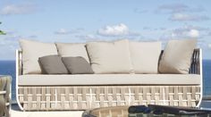 The unique design of the Strips Outdoor Sofa from Skyline Design is bound to leave your guests in awe.  Hand woven, using only the finest weaving materials, the Strips Outdoor Sofa is as beautiful as it is durable, and utilizes materials that are safe for the environment and 100% recyclable.  Available to order at www.LandscaperOutlet.com Outdoor Sofa, Outdoor Living, Outdoor Furniture, Outdoor Decor, Skyline Design, Garden Fountains, Hand Weaving, Indoor, Patio