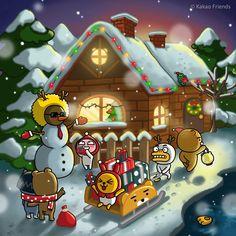 - 메리 크리스마스!🎅🏻 프렌즈의 파티는 지금부터 시작☃️ #모두가_즐겁고_따뜻한_연말되세요🙏🏻 - Merry Christmas! 🎅🏻 Have a happy, merry Christmas in 2017 with KAKAO FRIENDS!☃️ - #카카오프렌즈 #메리크리스마스 #루돌프튜브 #제이지눈사람 #우리와함께 #해피홀리데이 #라이언 #어피치 #무지 #콘 #튜브 #제이지 #네오 #프로도 #프렌즈 #연말 #인사 #일상 #데일리 #크리스마스 #카카오톡 #KAKAOFRIENDS #MerryChristmas #Christmas #Happy #holiday #friends #daily #Kakaotalk Kakao Ryan, Apeach Kakao, Cafe Posters, Kakao Friends, Friends Wallpaper, Line Friends, Kawaii Drawings, Kids House, Cute Designs