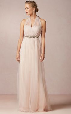 Halter A-line Floor-length Sleeveless Tulle Zipper Bridesmaid Dresses_1