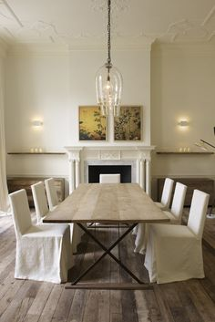 A Long Luxurious Oak Table And Art Deco Glass Lights Designed For The Jo Malone London Townhouse By British Interior Designer Rose Uniacke