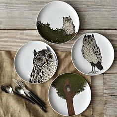 Perfect for late-night dining! Owl Dessert Plates #WilliamsSonoma
