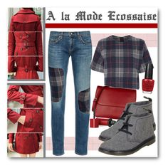 """""""À la Mode Écossaise"""" by drinouchou ❤ liked on Polyvore featuring Aurora, rag & bone, Marni, Bourjois, Dr. Martens and OPI"""
