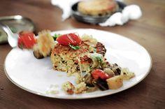 quinoa cakes with eggplant + tomato toppings plus smoked mozzarella.