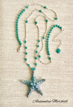 """""""Beach Bauble"""" Turquoise and Silver Wire Wrapped Rope Necklace with hand cast faux finished Epoxy Clay starfish pendant by Alexandra Marshall. 34""""- 36"""" long, custom made for Jennifer. #N2683."""