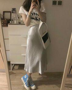 Korean Girl Fashion, Korean Street Fashion, Asian Fashion, Look Fashion, Daily Fashion, Fashion Outfits, Cute Casual Outfits, Modest Outfits, Long Skirt Fashion
