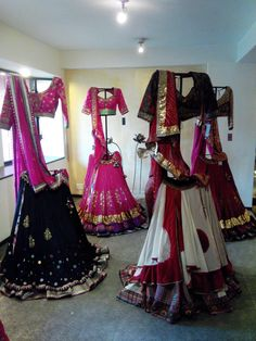 """All of these chaniya cholis or lehengas, are from the indian movie called """"Ramleela"""". Starring Deepika Padukone who worn all of these during the movie. Dress Indian Style, Indian Dresses, Indian Outfits, Garba Dress, Navratri Dress, Lehnga Blouse, Chanya Choli, Desi Clothes, Indian Clothes"""