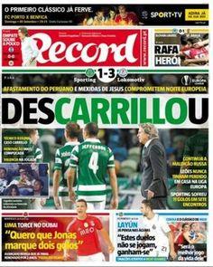 André Carrillo, no jugó ayer pero estuvo en la portada de los diarios de Portugal. Setiembre 18, 2015.