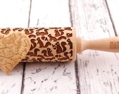 squirrels embossing rolling pin by MoodForWood on Etsy