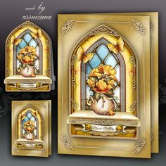 Yellow Windows Card Kit by Atlic Snezana Yellow Windows Card Kit: 4 sheets for print with decoupage for 3D effect plus few sentiment tags (for your own personal text)