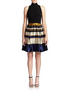 Theia Mixed-Media Flared Dress