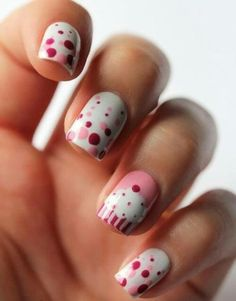 9 Best Cup Cake Nail Designs : Easy Dotted Cup Cake Nails:.    * I'd paint the 4 nails cupcakes, & the ring finger polka dots!! I'd do a different color background, & give the frosting more color.