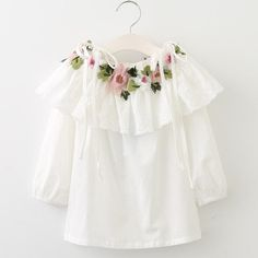 Girls Blouses 2017 New Fashion Style, Long Sleeve Floral Embroidery