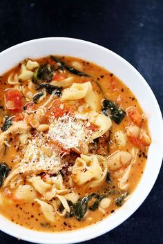 Creamy Tuscan Garlic Tortellini Soup is so easy to make and one of the best soups that you will make! ...