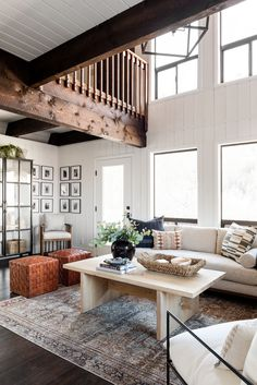 Modern Bohemian Netflix Remodel - Studio McGee Dining Nook, Dining Bench, Studio Mcgee, Mix Style, Exposed Beams, Modern Bohemian, Eclectic Style, Design Process, Glass Door