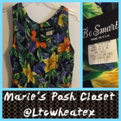 Colorful Floral Print Skort Romper Sleeveless romper in tropical print with skirted front, super cute little dress in yellow, orange and blue flowers with green foliage on a black background. Long back zipper allows for ease of wear. EUC. Be Smart Pants Jumpsuits & Rompers