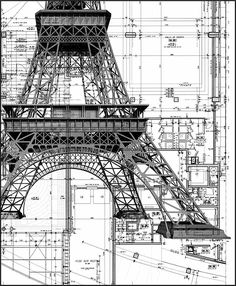 Eiffel Tower layout. Imagine the complexity