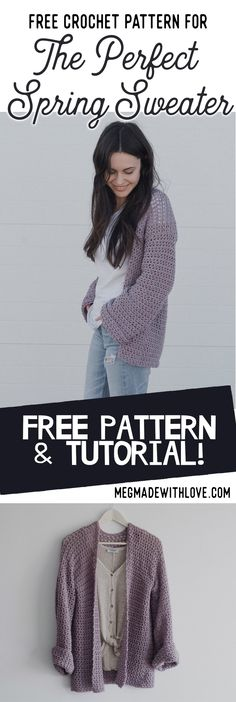 Knitting Patterns Jacket Free Crochet Pattern for The Perfect Spring Sweater – Oversized Cardigan Megmade with Love Crochet Poncho With Sleeves, Cardigan Au Crochet, Gilet Crochet, Crochet Shawl, Crochet Sweaters, Free Crochet Sweater Patterns, Crochet Pattern Free Cardigan, Shrug Pattern, Diy Knitting Sweater
