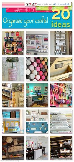20 Craft Organization Ideas - Mad in Crafts- great ideas if I can ever get supplies together!!!
