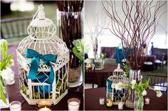 white vintage birdcage centerpiece, elaborate vintage greenery centerpieces