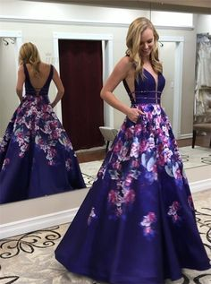 BeautyRobes A-Line Deep V-Neck Sweep Train Royal Blue Printed Satin Prom Dress with Pockets, 6666197 Floral Prom Dresses, Pretty Prom Dresses, Backless Prom Dresses, A Line Prom Dresses, Prom Party Dresses, Formal Dresses, Dress Prom, Amazon Prom Dresses, Stunning Dresses